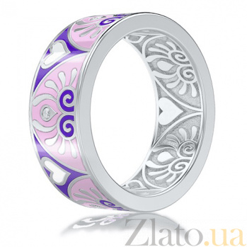 Обручальное кольцо из белого золота с эмалью и бриллиантами Талисман: Души 3033