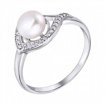 Срібна каблучка з білими перлами і цирконієм 000007614