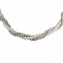 Ожерелье Эклекта из 3 нитей белого и серого жемчуга с серебряной застежкой
