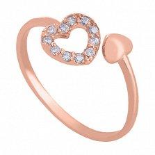 Золотое кольцо с фианитами Love is