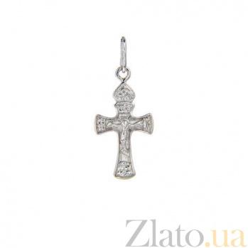 Серебряный родированный крестик AQA--3105