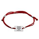 Шелковый браслет с серебряной вставкой Тигр Brave