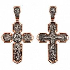 Золотой крестик с черным и белым родированием Животворящий