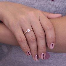 Золотое помолвочное кольцо Гармония с крупным фианитом