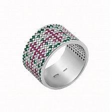 Серебряное кольцо Весенний Орнамент с зелеными, розовыми и белыми фианитами