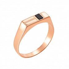 Золотое кольцо-печатка Стант с ониксом