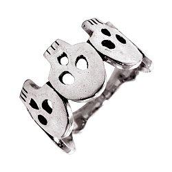 Кольцо из серебра Fiver с черепом и чернением 000091462