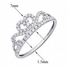 Кольцо-корона из белого золота Королева красоты с фианитами
