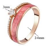 Кольцо в красном золоте Алина с бриллиантами и эмалью