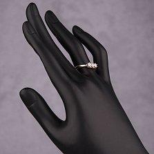 Золотое кольцо Трио с белыми кристаллами Swarovski