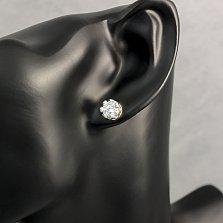 Серебряные серьги-пуссеты Королевские с белыми фианитами в узорном касте