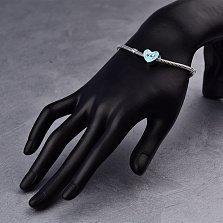 Серебряный шарм Сердце в подарок с голубой эмалью