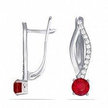 Серебряные серьги Desire с синтезированными рубинами и фианитами