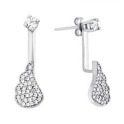 Серебряные серьги-пуссеты с усыпкой фианитов 000118028
