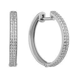 Золотые серьги-кольца в белом цвете с кристаллами циркония, 22мм 000130584