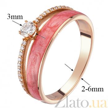 Кольцо в красном золоте Алина с бриллиантами и эмалью 000043308