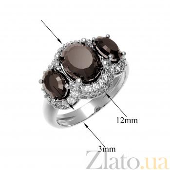 Серебряное кольцо Аврора с раухтопазом и фианитами 000079670