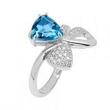 Кольцо в белом золоте Сюрприз с голубым топазом и фианитами