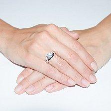 Серебряное кольцо с фианитами Гвоздика