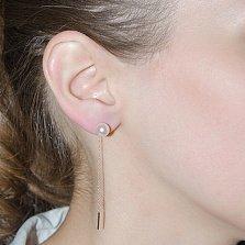 Золотые серьги-цепи Утонченность с жемчугом
