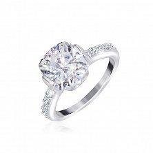 Серебряное кольцо с белыми фианитами Майа