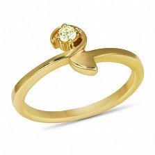 Золотое кольцо Корра в желтом цвете с цитрином