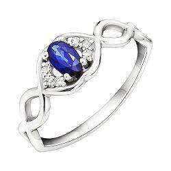 Золотое кольцо в белом цвете с сапфиром и бриллиантами 000106484