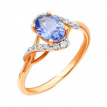Золотое кольцо в комбинированном цвете с танзанитом и бриллиантами 000139515