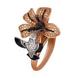 Кольцо из красного золота Колибри с фианитами
