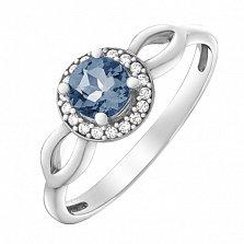 Серебряное кольцо Линара с кварцем под лондон топаз и фианитами