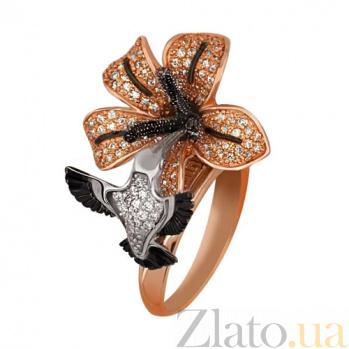 Кольцо из красного золота Колибри с фианитами VLT--ТТ1101-7