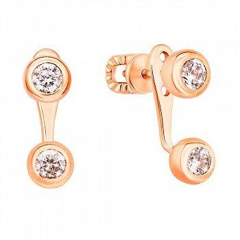 Золотые пуссеты-джекеты с завальцованными фианитами 000101591