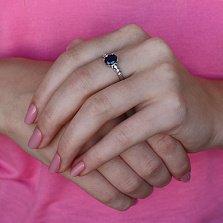 Серебряное кольцо Гелена с гидротермальным сапфиром и цирконием