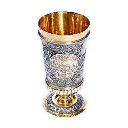 Серебряный кубок Царская охота с позолотой