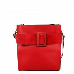 Деловая сумка из кожи и замши Genuine Leather 8821 красного цвета с декоративной пряжкой, на молнии
