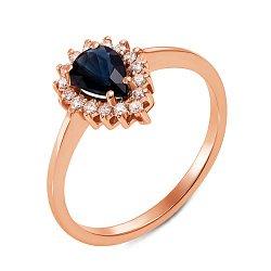 Кольцо из красного золота с сапфиром и бриллиантами 000131171