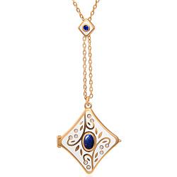 Золотой кулон Рожденные для счастья с лазуритом, сапфиром, бриллиантами и эмалью 000019264