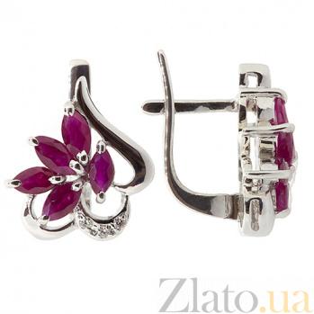 Серебряные серьги с рубинами и бриллиантами Эмма ZMX--EDR-5005-Ag_K