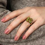 Серебряное позолоченое кольцо с оливинами (хризолитами) в подвижных кастах