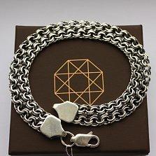 Серебряный черненый браслет Мариус с двойным рядом плетения