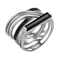 Серебряное кольцо Маригона с агатом и фианитами 000048751