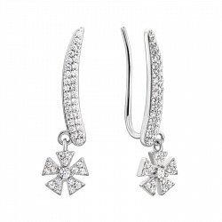 Серебряные серьги-каффы с подвесками и фианитами 000133997
