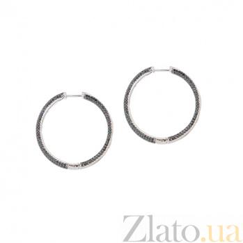 Серебряные серьги с фианитами Глориана 3С731-0075