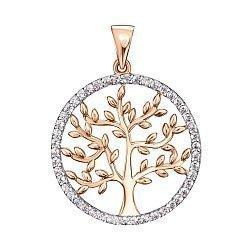 Золотая подвеска Дерево жизни в комбинированном цвете с фианитами 000138180