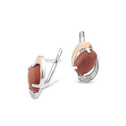 Серебряные серьги Азиза с золотыми накладками, авантюрином и кристаллами циркония