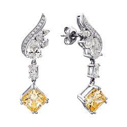 Серебряные серьги-подвески с желтыми и белыми фианитами 000136613