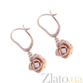 Золотые серьги с бриллиантами Розы 1С037-0091