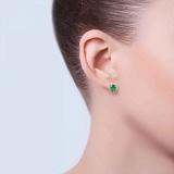 Серьги-гвоздики из серебра с зеленым цирконом Капелька