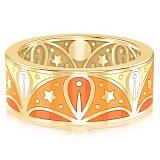 Обручальное кольцо из желтого золота с эмалью Талисман: Добра