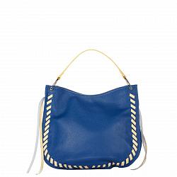 Кожаная сумка на каждый день Genuine Leather 8701 синего цвета с желтыми вставками, на молнии